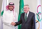Prince Abdulaziz congratulates Bach on being re-elected IOC president