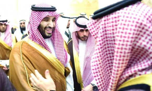 Crown Prince Mohammed bin Naif and Deputy Crown Prince Mohammed bin Salman receive pledges of allegiance from officials and members of the public on Thursday.