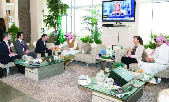 Prince Alwaleed Bin Talal, chairman of Kingdom Holding Company, with Japanese ambassador to Saudi Arabia Norihiro Okuda, at his office in Riyadh.