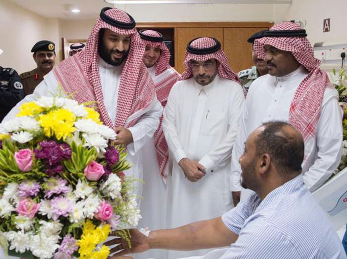 Crown Prince visits wounded security officers in hospital